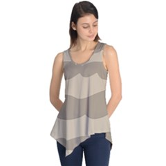 Pattern Wave Beige Brown Sleeveless Tunic