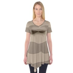 Pattern Wave Beige Brown Short Sleeve Tunic