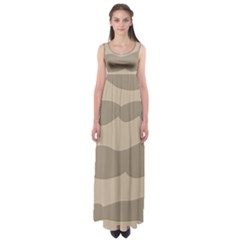 Pattern Wave Beige Brown Empire Waist Maxi Dress