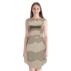 Pattern Wave Beige Brown Sleeveless Chiffon Dress