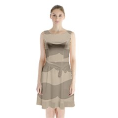 Pattern Wave Beige Brown Sleeveless Chiffon Waist Tie Dress