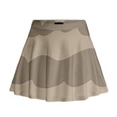 Pattern Wave Beige Brown Mini Flare Skirt