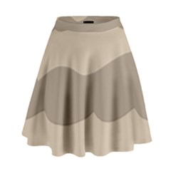 Pattern Wave Beige Brown High Waist Skirt