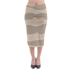 Pattern Wave Beige Brown Midi Pencil Skirt