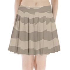 Pattern Wave Beige Brown Pleated Mini Skirt