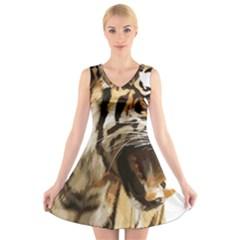 Royal Tiger National Park V Neck Sleeveless Skater Dress