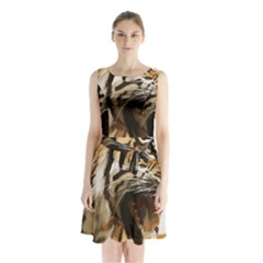 Royal Tiger National Park Sleeveless Chiffon Waist Tie Dress