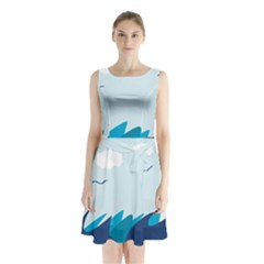 Sea Sleeveless Chiffon Waist Tie Dress