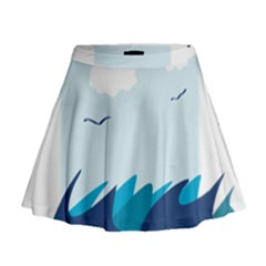 Sea Mini Flare Skirt