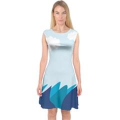 Sea Capsleeve Midi Dress