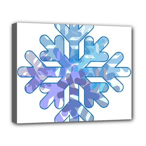 Snowflake Blue Snow Snowfall Deluxe Canvas 20  X 16