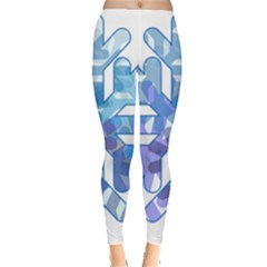 Snowflake Blue Snow Snowfall Leggings