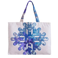 Snowflake Blue Snow Snowfall Zipper Mini Tote Bag
