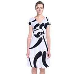 Biathlon Pictogram Short Sleeve Front Wrap Dress