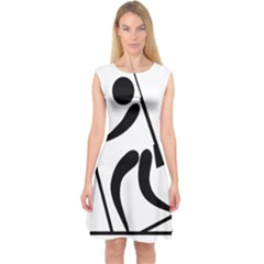 Biathlon Pictogram Capsleeve Midi Dress