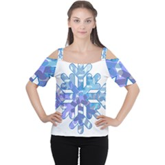 Snowflake Blue Snow Snowfall Women s Cutout Shoulder Tee