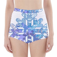 Snowflake Blue Snow Snowfall High-Waisted Bikini Bottoms