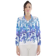Snowflake Blue Snow Snowfall Wind Breaker (women)