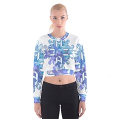 Snowflake Blue Snow Snowfall Women s Cropped Sweatshirt