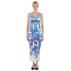 Snowflake Blue Snow Snowfall Fitted Maxi Dress