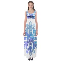 Snowflake Blue Snow Snowfall Empire Waist Maxi Dress
