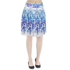 Snowflake Blue Snow Snowfall Pleated Skirt