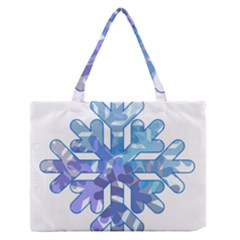 Snowflake Blue Snow Snowfall Medium Zipper Tote Bag