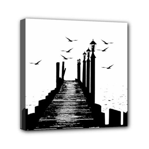 The Pier The Seagulls Sea Graphics Mini Canvas 6  X 6