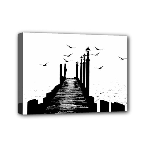 The Pier The Seagulls Sea Graphics Mini Canvas 7  X 5