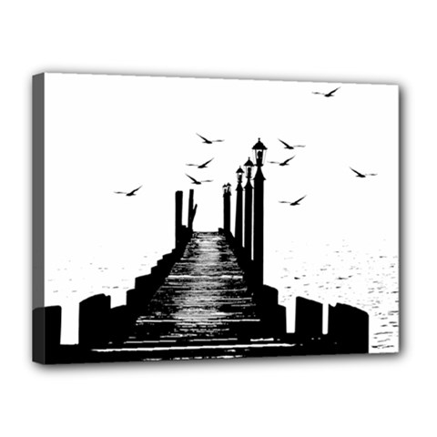 The Pier The Seagulls Sea Graphics Canvas 16  X 12