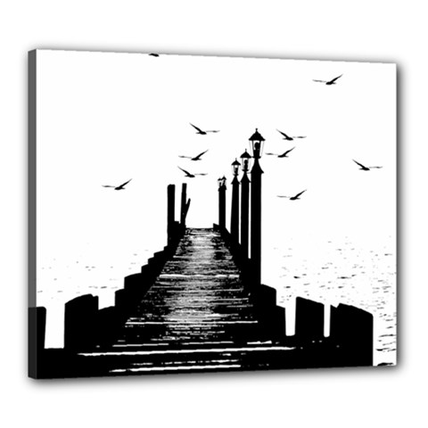 The Pier The Seagulls Sea Graphics Canvas 24  X 20