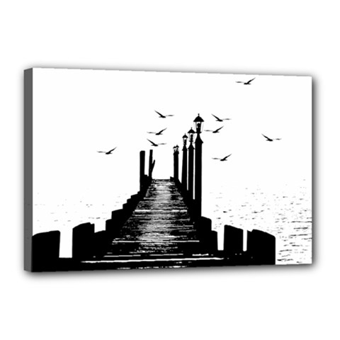 The Pier The Seagulls Sea Graphics Canvas 18  X 12