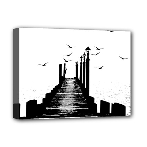 The Pier The Seagulls Sea Graphics Deluxe Canvas 16  X 12