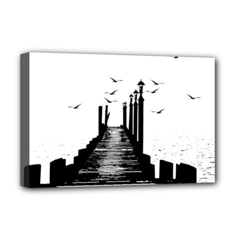 The Pier The Seagulls Sea Graphics Deluxe Canvas 18  X 12