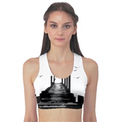 The Pier The Seagulls Sea Graphics Sports Bra