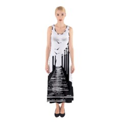 The Pier The Seagulls Sea Graphics Sleeveless Maxi Dress