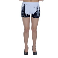 The Pier The Seagulls Sea Graphics Skinny Shorts