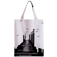 The Pier The Seagulls Sea Graphics Zipper Classic Tote Bag