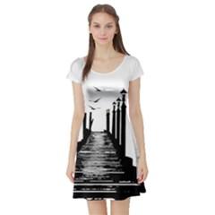 The Pier The Seagulls Sea Graphics Short Sleeve Skater Dress