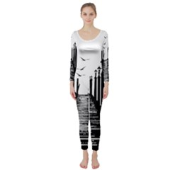 The Pier The Seagulls Sea Graphics Long Sleeve Catsuit