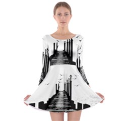 The Pier The Seagulls Sea Graphics Long Sleeve Skater Dress