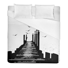 The Pier The Seagulls Sea Graphics Duvet Cover (full/ Double Size)