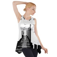 The Pier The Seagulls Sea Graphics Side Drop Tank Tunic