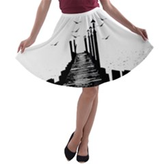 The Pier The Seagulls Sea Graphics A Line Skater Skirt