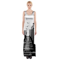 The Pier The Seagulls Sea Graphics Maxi Thigh Split Dress
