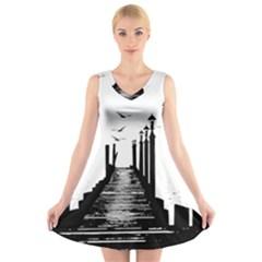 The Pier The Seagulls Sea Graphics V-Neck Sleeveless Skater Dress