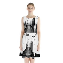 The Pier The Seagulls Sea Graphics Sleeveless Chiffon Waist Tie Dress