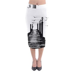 The Pier The Seagulls Sea Graphics Midi Pencil Skirt
