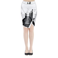The Pier The Seagulls Sea Graphics Midi Wrap Pencil Skirt