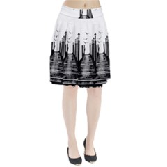 The Pier The Seagulls Sea Graphics Pleated Skirt